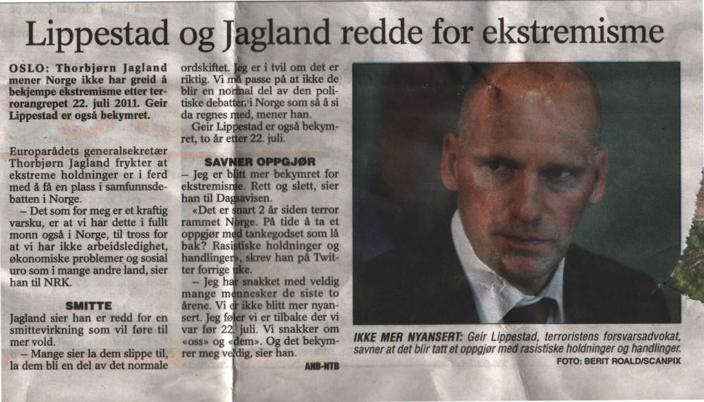 Lippestad og Jagland med fellesuttalelse til media, her i Telemark Arbeideravis november 2013